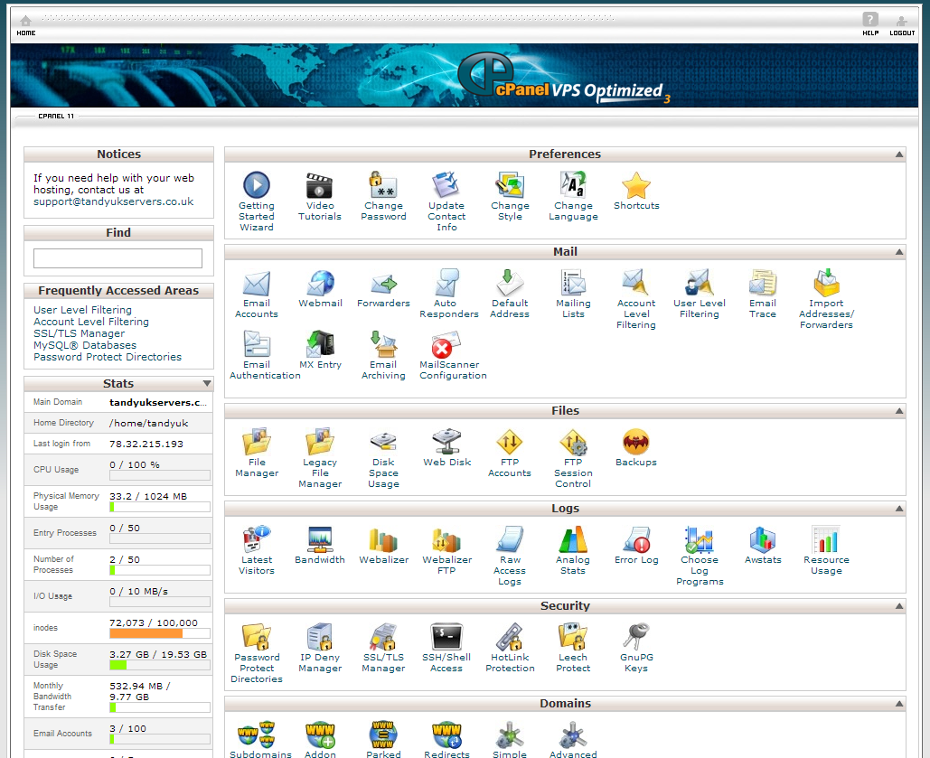 Cpanel Web interface